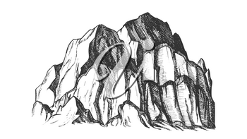 Peak Of Rocky Mountain Landscape Vintage Vector. Mountain Large Landform Rises Above Surrounding Land In Limited Area. Pencil Designed Slope Clift Template Black And White Illustration
