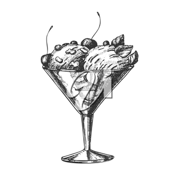 Glass With Fruit Scoop Ice Cream Vintage Vector. Tasty Frozen Milk Dessert Ice Cream In Cup Decorated Cherry, Berries Mint Leaves And Cookies Concept. Designed Template Monochrome Illustration