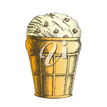 Color Ice Cream In Waffle Cone With Caramel Ink Vector. Cold Sweet Dairy Dessert Ice Cream In Wafer Cup With Fruit Jelly Concept. Refreshing Natural Tasty Food Designed Mockup Illustration