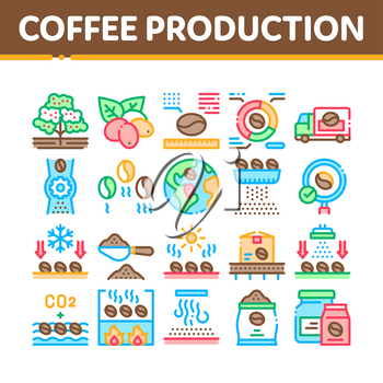 Coffee Production Collection Icons Set Vector. Coffee Production Factory And Conveyor, Roasted Beans And Tree, Truck Delivery And Package Concept Linear Pictograms. Color Contour Illustrations