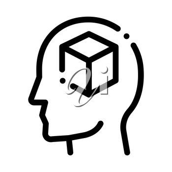 Cube Figure In Man Silhouette Mind Vector Icon Thin Line. Gear And Brain, Heart And Shield, Padlock And Coin Concept Linear Pictogram. Black And White Template Contour Illustration