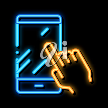 Hand Touch Phone neon light sign vector. Glowing bright icon Hand Touch Phone sign. transparent symbol illustration