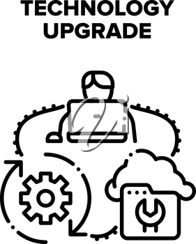 Technology Upgrade Process Vector Icon Concept. Programmer Technology Upgrade And Renovate System, Cloud Storage Information Recovery Processing. Installation Software Black Illustration