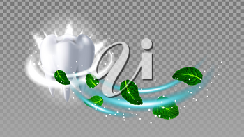 Healthy Tooth Smelling Natural Mint Aroma Vector. White Tooth Brushing Fresh Aroma Toothpaste And Plant Green Leaves With Sparkle. Mouth Hygienic Procedure Template Realistic 3d Illustration