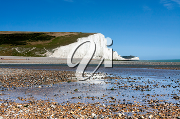 The white chalk cliffs of the Seven Sisters in Sussex