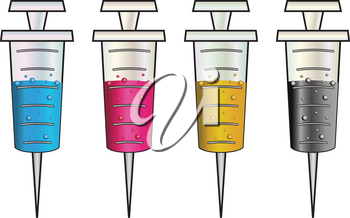 Set of cartoon syringes filled with colorful liquids, CMYK.