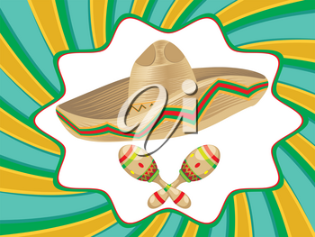 Mexican straw hat sombrero and decorative maracas.