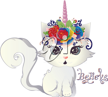 Cute blue eyed white kitten with horn decorated with roses and floral.