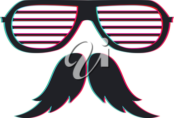 Party eyeglasses with moustache, retro anaglyph effect design.