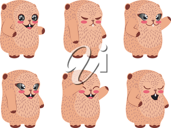 Cartoon kawaii groundhog in different poses design illustration.