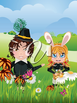 Cute cartoon boy and girl with basket of Easter eggs.