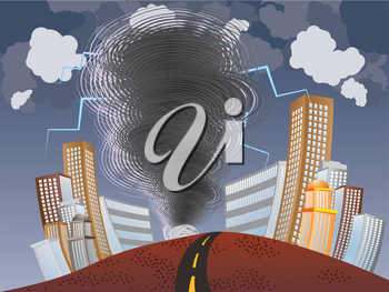 Illustration of big tornado with lightnings in the city background.