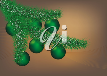 Illustration of green Christmas ball with decoration background