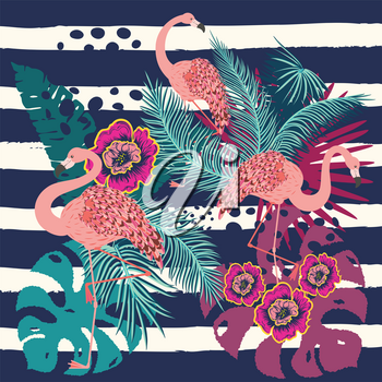 Vintage style animalistic design with pink flamingo over striped background.