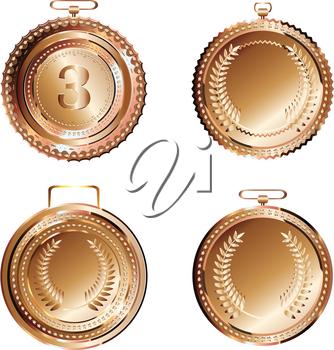 Set of round decorative bronze medals on white background.