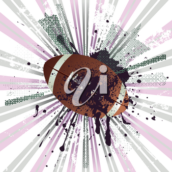 American football, rugby ball on grunge background.