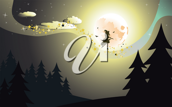 Halloween background with flying witch silhouette on a broomstick in dark forest.