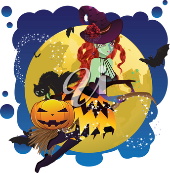 Halloween witch flying on a broomstick over yellow full moon.