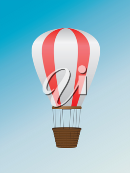 Hot air balloon of red and white colors illustration on blue background.