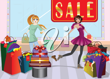 Cartoon fashion girls in casual outfit with shopping bags at shopping.