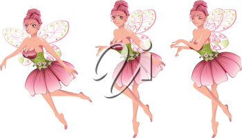 Cute cartoon fairy with pink hair in floral dress with wings.