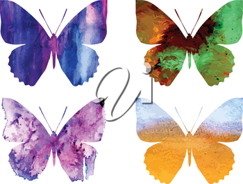 Various grunge watercolor butterflies collection on white background.