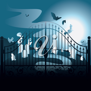 Halloween background with spooky old graveyard with iron gate.