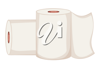Toilet paper roll simple illustration on white background.