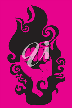 Abstract pink female fist raised up, retro style illustration.