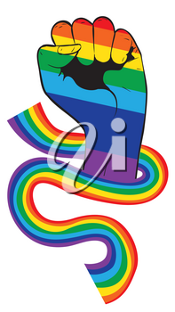 Raised clenched fist with ribbon in rainbow colors, fight for lgbt rights concept.
