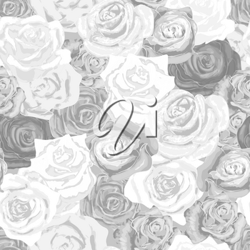 Beautiful white and gray rosebuds, grayscale seamless pattern
