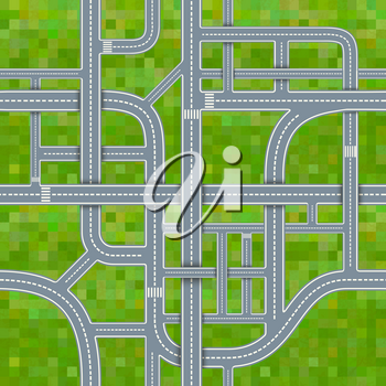 A lot of different road junctions on grass background, seamless pattern