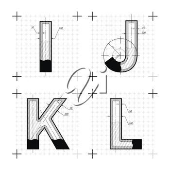 Architectural sketches of I J K L letters. Blueprint style font on white.