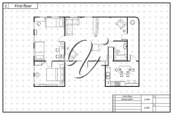 Black architecture plan of flat with furniture in blueprint sketch style on white