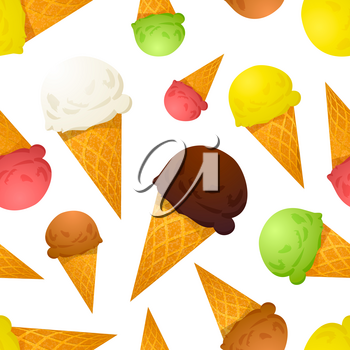 Bright colorful ice cream cones different tastes on white, seamless pattern