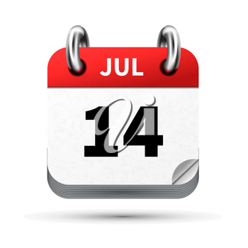 Bright realistic icon of calendar with 14 july date on white