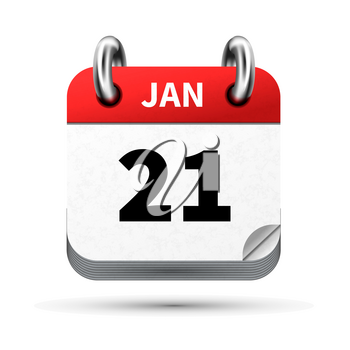 Bright realistic icon of calendar with 21 january date on white