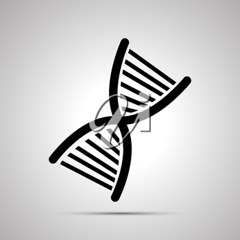 DNA silhouette, simple black icon with shadow