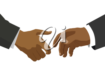 Handshake between two black people, flat illustration for business and finance concept on white