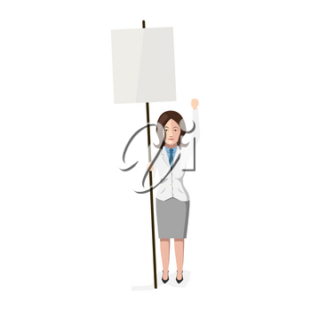 Woman with blank poster, flat character on white