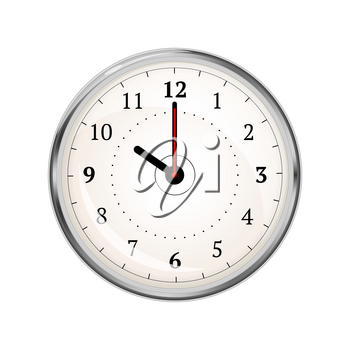 Realistic clock face showing 10-00 isolated on white