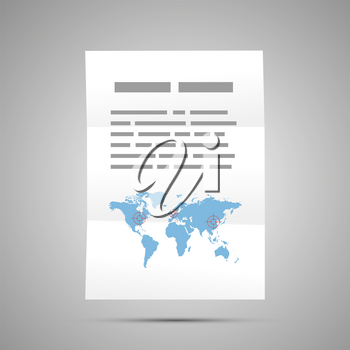 Report with world map, A4 size document icon on gray