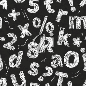 Retro hand drawn alphabet letters drawing with white chalk on black school chalkboard, seamless pattern