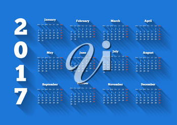 Calendar on 2017 year in modern flat design style with long shadow and week starting from monday on blue background, A4 sheet size