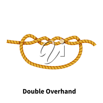 Double Overhand sea knot. Bright colorful how-to guide isolated on white