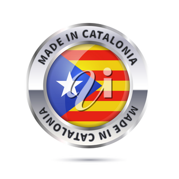 Metal badge icon, made in Catalonia with flag