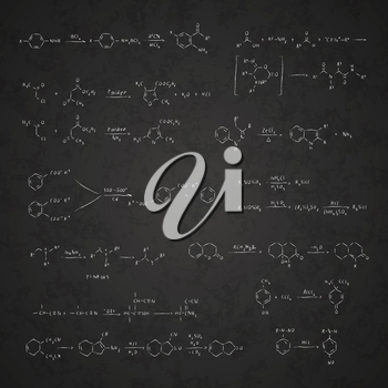 Set of basic chemical reaction equations and formulas on school blackboard