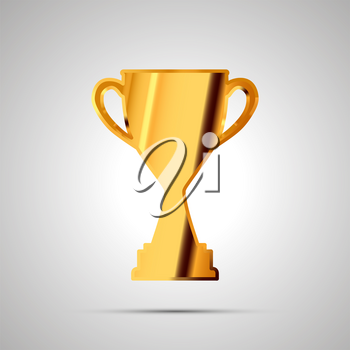 Shiny glossy badge of winner cup made from gold. Simple award icon with shadow