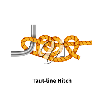 Taut-line Hitch sea knot. Bright colorful how-to guide isolated on white