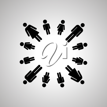 Happy family, people silhouettes arranged in round dance, simple black human icons